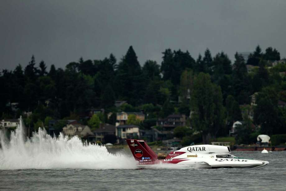 The Spirit of Qatar hydroplane takes to the water for a time trial on the first day of the Albert Lee Appliance Cup at Seafair Friday, August 2, 2013, in Seattle. The hydroplanes, air shows and live music continues through Sunday. Photo: JORDAN STEAD, SEATTLEPI.COM / SEATTLEPI.COM