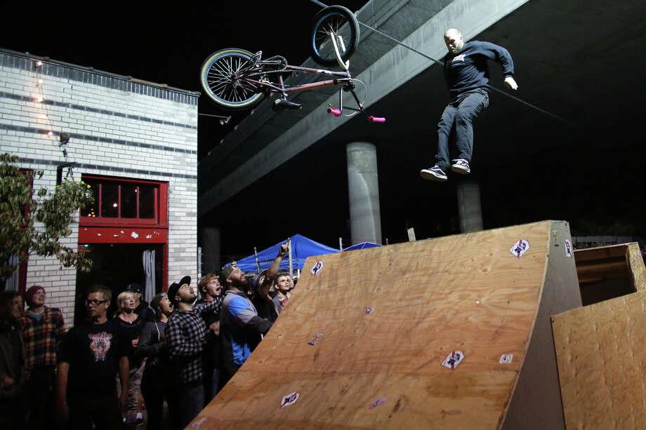 A BMX rider comes down hard while trying to perform a trick. Photo: JOSHUA TRUJILLO, SEATTLEPI.COM / SEATTLEPI.COM
