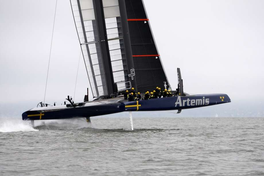 Artemis is back in training after wrecking its previous boat in a capsize on May 9 that killed one of its sailors Photo: Katie Meek, The Chronicle