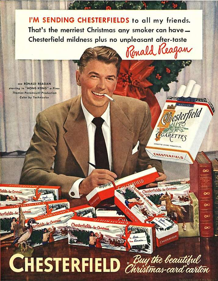 Companies seeking a stake in the fast-growing electronic-cigarette business are turning to old marketing tactics to hook a new generation. Ads feature celebrities just as this Chesterfield cigarette advertisement with future President Ronald Reagan did  in 1949. Photo: Uncredited, Associated Press