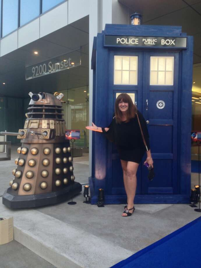 DOCTOR WHO 50th ANNIVERSARY PARTY:Yours truly had a great time with two 'Who' staples, Dalek and TARDIS, at the entrance of BBC America's big party. Photo: Ross Ruediger