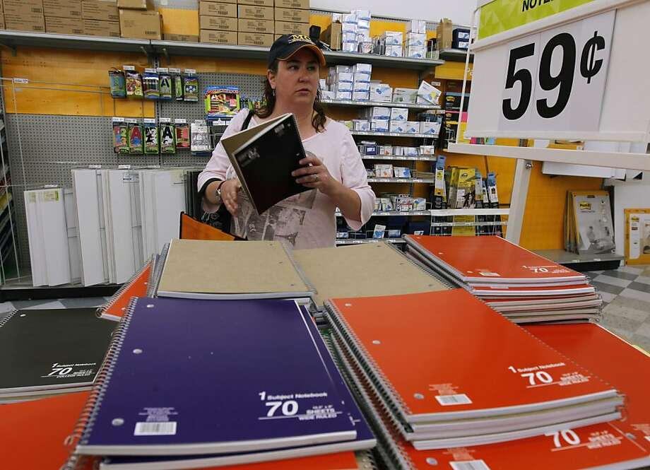 High school teacher Rachel Tevlin stocks up on notebooks for her students in Mountain View, Calif. on Saturday, Aug. 3, 2013. Photo: Paul Chinn, The Chronicle