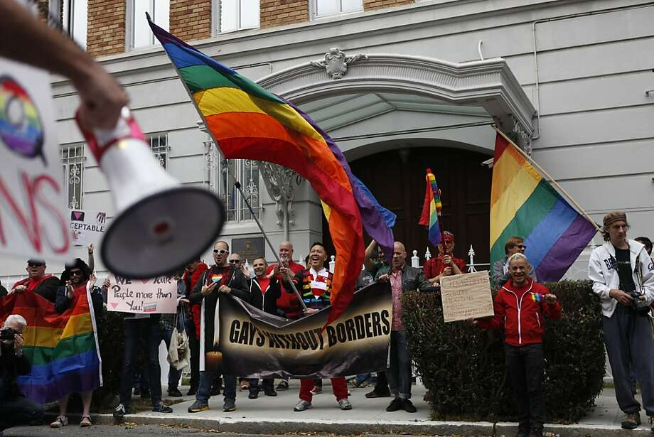 Demonstrators rally outside the Russian Consulate in San Francisco to protest Moscow's ban on the discussion of gay rights and relationships near children. Photo: Katie Meek, The Chronicle