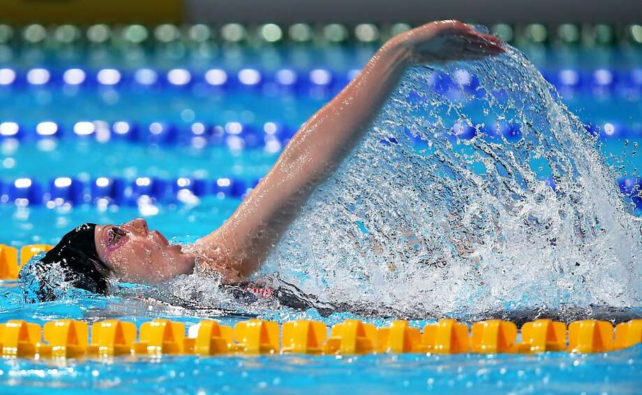 In winning the 200-meter backstroke and her fifth gold, Cal's Missy Franklin ties the record for most titles by a woman at the world championships. Photo: Clive Rose, Getty Images