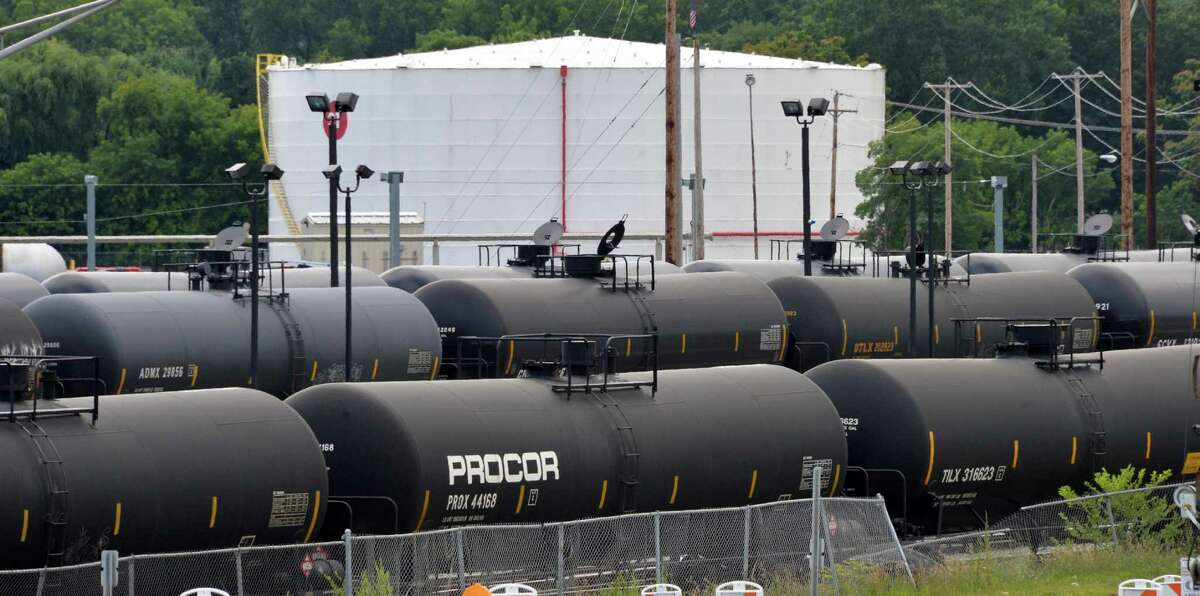 Railroad oil tanker cars along I-787 in Albany, NY, Tuesday July 30, 2013. (John Carl D'Annibale / Times Union)