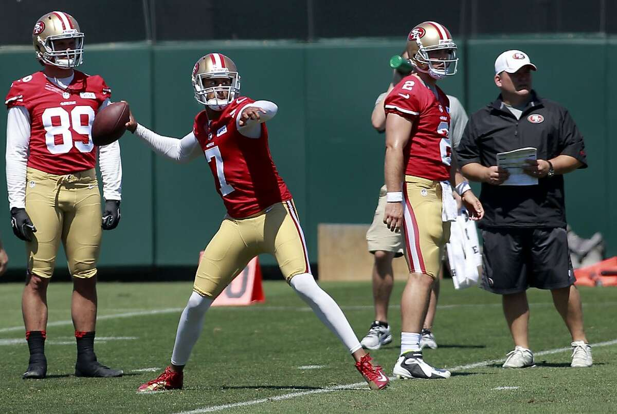 49ers quarterback Colin Kaepernick, (7) throws during an afternoon session of practice at the San Francisco 49ers training camp in Santa Clara, Calif. on Thursday July 25, 2013.