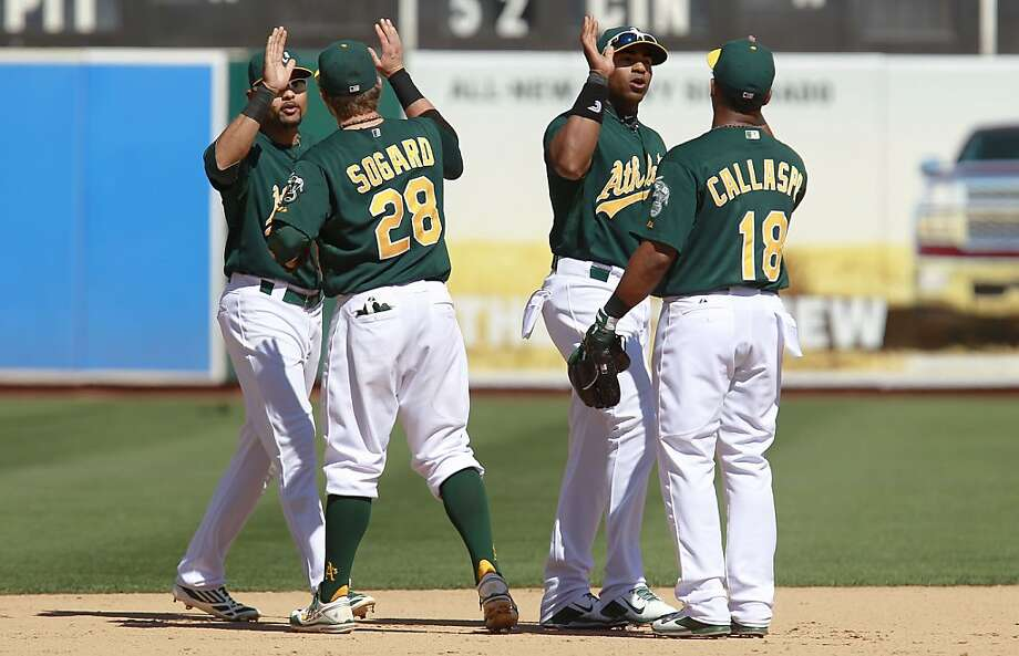 A's players Coco Crisp, (4), Eric Sogard(28), Yoenis Cespedes, (52) and Alberto Callaspo, (18) celebrate the win as the Oakland Athletics beat the Texas Rangers 4-2 at O.co Coliseum in Oakland, Calif.,  on Saturday August 3, 2013,. Photo: Michael Macor, San Francisco Chronicle