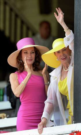 Susan Lucci, left and Marylou Whitney were on hand to watch the 86th running of The Whitney Invitational Aug. 3, 2013, at the Saratoga Race Course in Saratoga Springs, N.Y.    (Skip Dickstein/Times Union) Photo: SKIP DICKSTEIN