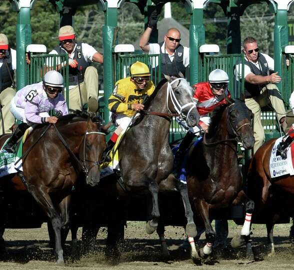 Cross Traffic with jockey John Velazquez, center breaks the gate on his way to the win in the 86th r