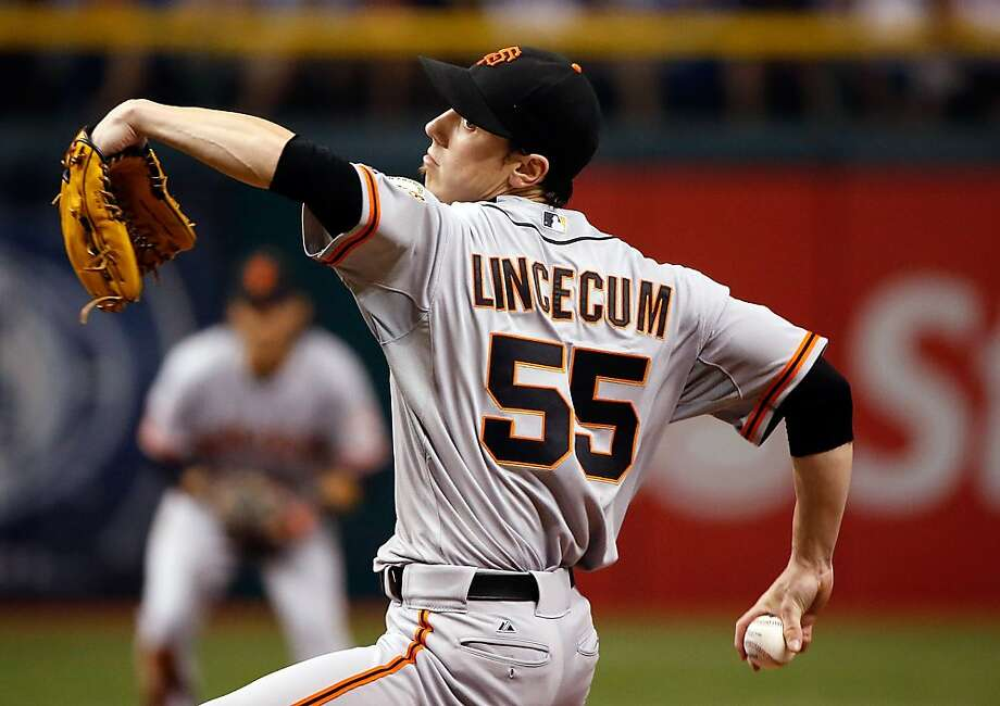 ST PETERSBURG, FL - AUGUST 03:   Pitcher Tim Lincecum #55 of the San Francisco Giants pitches against the Tampa Bay Rays during the game at Tropicana Field on August 3, 2013 in St. Petersburg, Florida.  (Photo by J. Meric/Getty Images) Photo: J. Meric, Getty Images