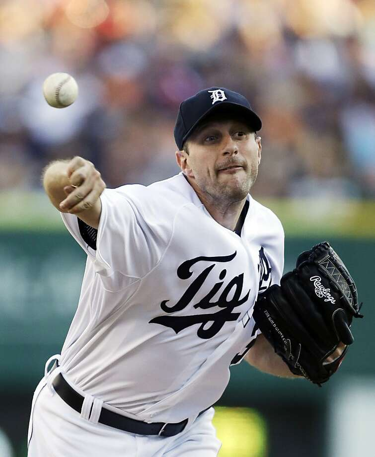 Detroit Tigers starting pitcher Max Scherzer throws during the first inning of a baseball game against the Chicago White Sox in Detroit, Saturday, Aug. 3, 2013. (AP Photo/Carlos Osorio) Photo: Carlos Osorio, Associated Press