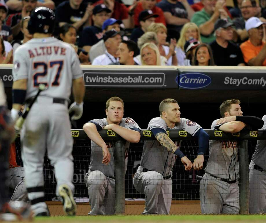 Jose Altuve had to trudge back to the dugout three times after strikeouts in Saturday night's loss. Photo: Hannah Foslien, Stringer / 2013 Getty Images