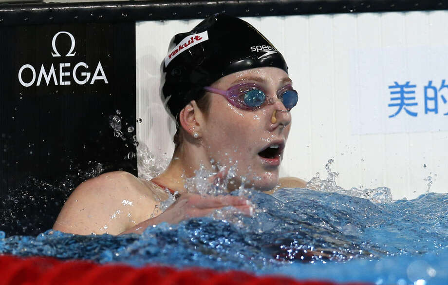 American Missy Franklin's victory in the 200-meter backstroke Saturday was her fifth in Barcelona, tying a women's world championships record. Photo: Michael Sohn / Associated