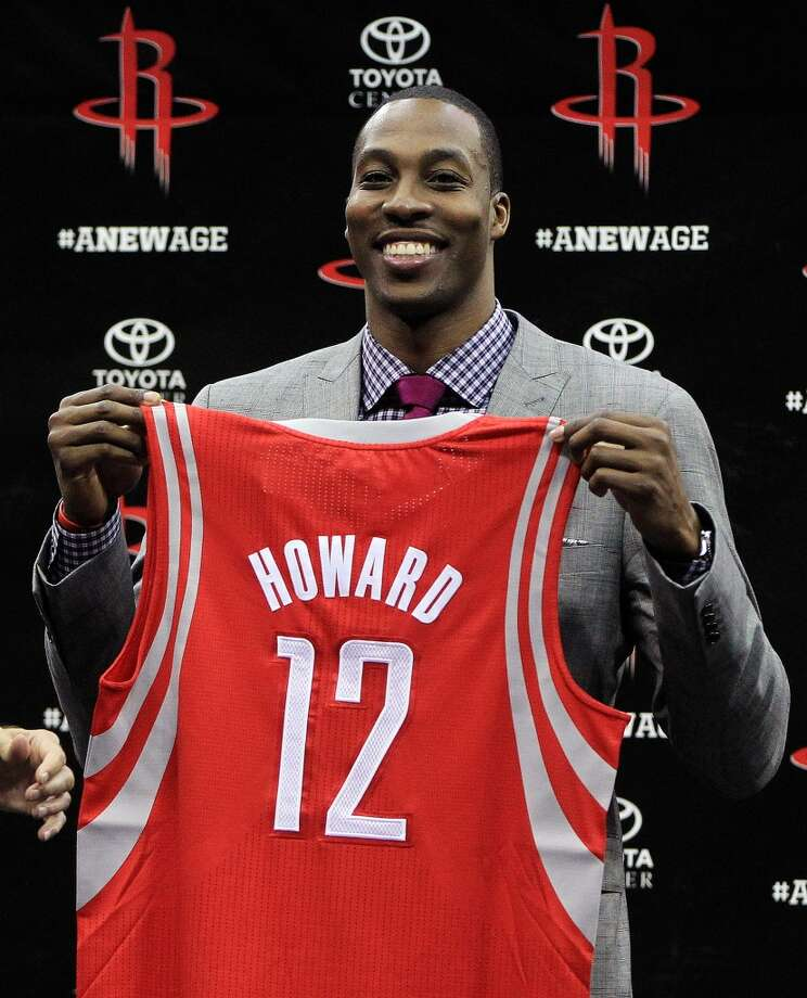 2013 1. Dwight Howard, Rockets center Age: 27.  Last year: Not on list.  Why he matters: The franchise's long history of cornerstone big men gives the Howard signing extra significance. It's the biggest deal of the off-season in the NBA and, for the Rockets, it's exponentially bigger than last year's acquisitions of Jeremy Lin and James Harden if Howard's that missing piece they've been seeking for approaching two decades. With Howard on patrol down low, they're an A-list franchise again.  Defining moment: The dunk contest Superman outfit was a marketing coup, but muscling the Magic into the NBA Finals in 2009 established his bonafides.  Staying power: He's contractually bound to be here for three seasons with his option for a fourth so, if he stays as happy as he seemed to be last weekend, he should become a civic treasure. Photo: Karen Warren, Chronicle