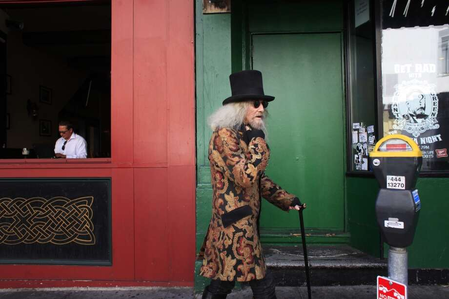 "Patrick ""Captain Cool"" LeBold strolls down Grant Avenue in North Beach. Photo: The Chronicle"