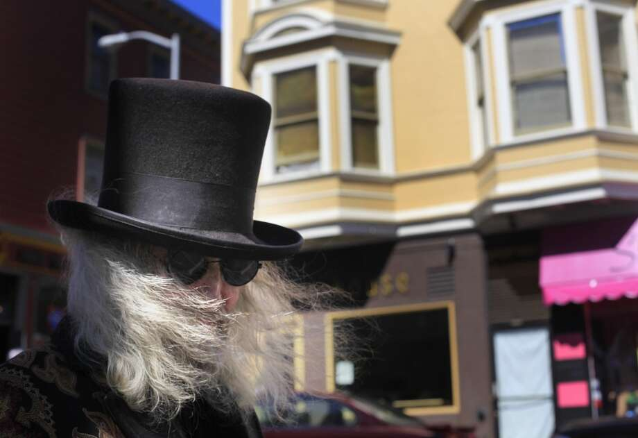 "Wind blows Patrick ""Captain Cool"" LeBold hair across his face in North Beach. When he left South Dakota 48 years ago it was his that made people feel uncomfortable and untimely is the reason he came to San Francisco. Photo: The Chronicle"