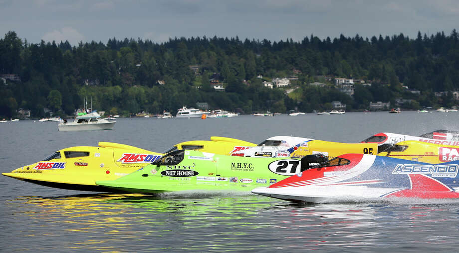 Formula One boats take off from the start during heat 4 at the annual Seafair Weekend on Lake Washington on Saturday, August 3, 2013. With the absence of the U.S. Navy Blue Angels and other U.S. military 