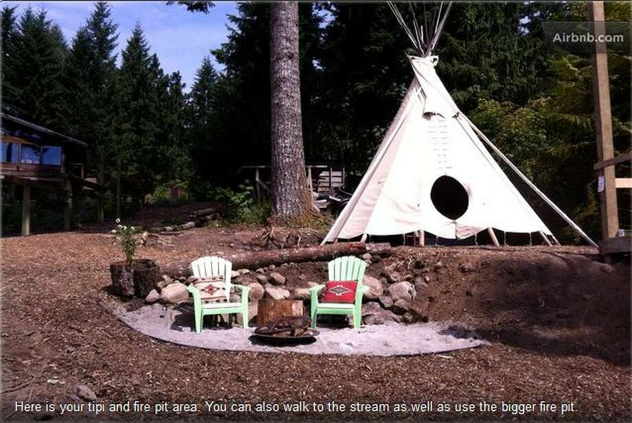 """Glamping in the Columbia Gorge"" Located in Stevenson, Washington, this tipi for two lets you experience a tent, but with a bed, running water, electricity and a keg of local microbrew.  Photo: Ho,  Vanessa, Via Airbnb"