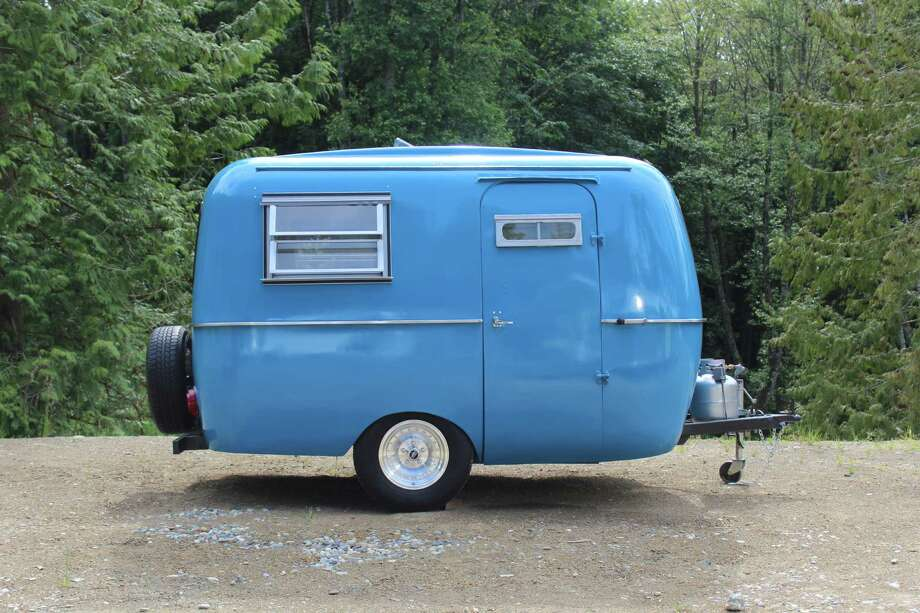 """AWESOME Vintage Trailer""Maybe luxury isn't where you want to be. Maybe you're looking for something down-to-earth, like this 1970 Boler trailer in Bellingham. It's ""13 feet of awesomeness,"" writes host Angi on Airbnb. And it's available for tow-rentals.  Photo: Old School Trailer Works, Via Airbnb"