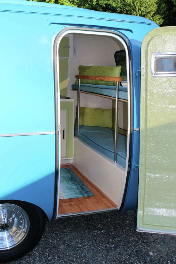 """Bella,"" as this trailer is called, has two bunks for four people.  Photo: Old School Trailer Works, Via Airbnb"