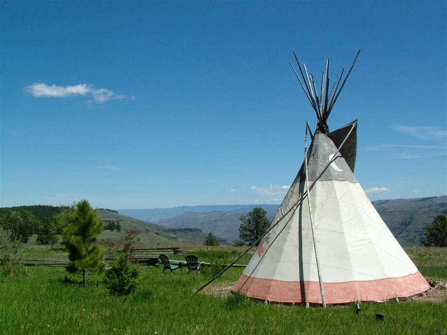 "Warrior Tipi, OregonThis ""Warrior Tipi"" on the edge of Joseph Canyon in Northeast Oregon is ""where rough meets romantic, grit meets glamour and canyon meets classy,"" writes owner Rebecca on Airbnb. It's one of three tipis at the Rimrock Inn. Photo: Via Airbnb"