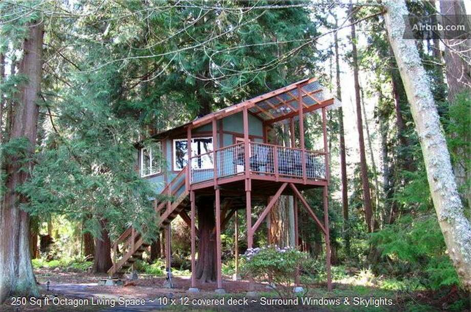 "Whidbey Island tree houseThis tree house is 13 feet off the ground and features a cedar tree in the middle of it. ""We invite you to experience a relaxing and rejuvenating retreat or get-a-way in our tree home suite,"" write hosts Lynn and Ken on Airbnb. Photo: Ho, Vanessa, Via Airbnb"