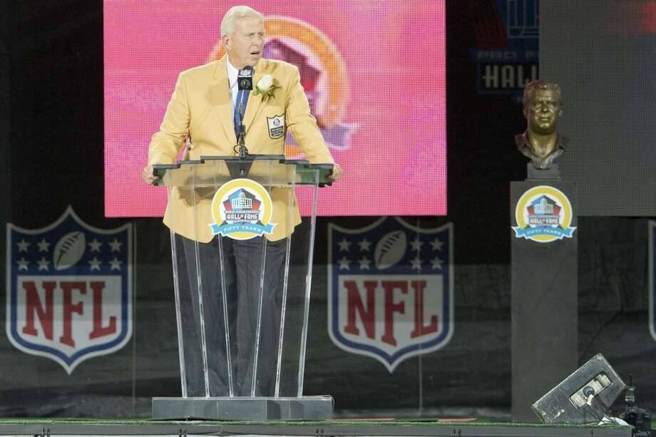 Former head coach Bill Parcells gives his speach during the NFL Class of 2013 Enshrinement Ceremony at Fawcett Stadium on Aug. 3, 2013 in Canton, Ohio. (Jason Miller / Getty Images) Photo: Jason Miller, Getty Images