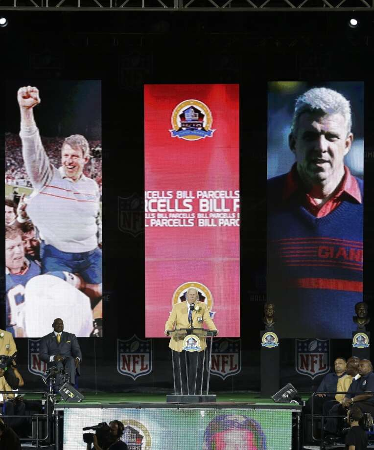 Former NFL football head coach Bill Parcells speaks during the induction ceremony at the Pro Football Hall of Fame Saturday, Aug. 3, 2013, in Canton, Ohio. (AP Photo/Tony Dejak) Photo: Tony Dejak, Associated Press