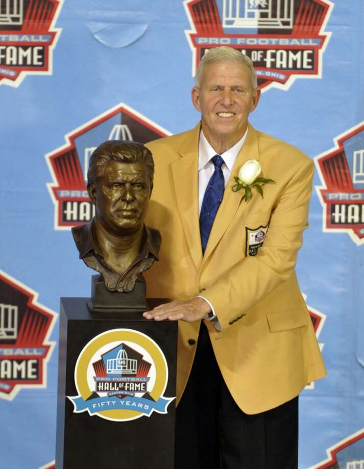 Hall of Fame inductee Bill Parcells poses with his bust during the 2013 Pro Football Hall of Fame Induction Ceremony Saturday, Aug. 3, 2013, in Canton, Ohio. (AP Photo/David Richard) Photo: David Richard, Associated Press