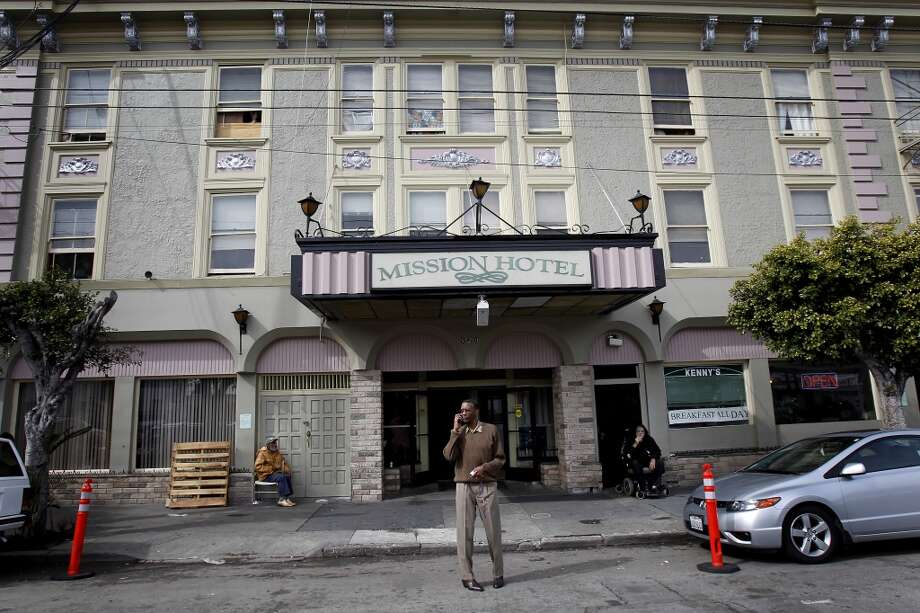 Residents at the Mission Hotel often hang out in front during the day. Ten years ago San Francisco officials decided that supportive housing for the homeless was the only solution. Although many formerly homeless are now housed, few have had the training, schooling or support to actually get off the streets during the day. Photo: Brant Ward, The Chronicle