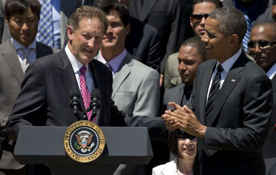 Larry Baer  The Giants' president and CEO announced that the team will plant a garden behind the centerfield fence, growing organic fruits, vegies, herbs and edible flowers. Thus violating baseball's oldest rule: If it's good for you, it has no business being served anywhere near a baseball game.  Hey, Joe, it's your turn to make a beer run. And I'm hungry. Bring me a chard-and-gardenia Cha-Cha Bowl, and a free-range-hog hot dog. Photo: Carolyn Kaster, Associated Press