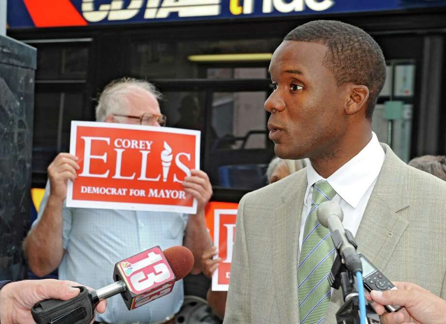 Albany Mayoral Candidate Corey Ellis talks about his plans for a state-of-the-art aquarium Thursday, Aug. 1, 2013, during a press conference in Albany, N.Y. Ellis believes that building an aquarium would improve the economy in downtown Albany. (Lori Van Buren / Times Union) Photo: Lori Van Buren / 10023370A