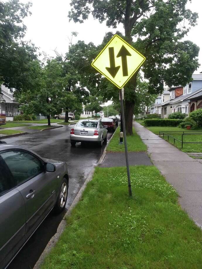 This sign on a one-way stretch of Albany's Cleveland Street warns two-way traffic is ahead.