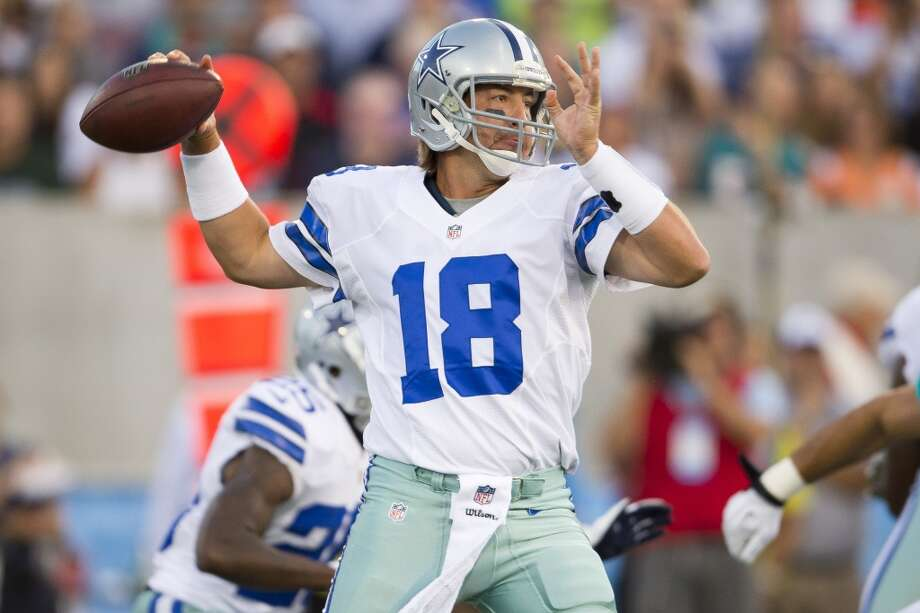 Quarterback Kyle Orton #18 of the Dallas Cowboys passes during the first quarter against the Miami Dolphins at Fawcett Stadium on August 4, 2013 in Canton, Ohio. (Jason Miller / Getty Images) Photo: Jason Miller, Getty Images
