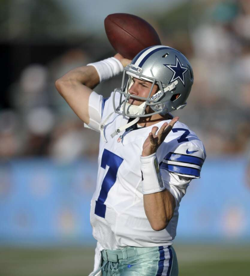 Dallas Cowboys quarterback Alex Tanney warms up before the Cowboys play the Miami Dolphins at the Pro Football Hall of Fame exhibition football game Sunday, Aug. 4, 2013, in Canton, Ohio. (AP Photo/David Richard) Photo: David Richard, Associated Press