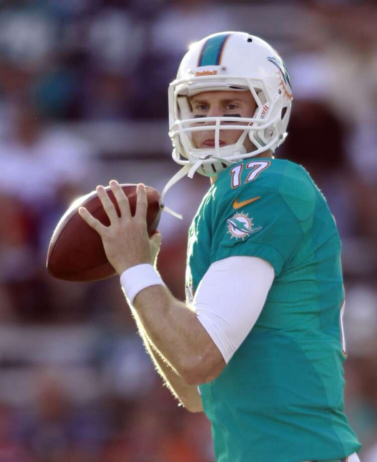 Miami Dolphins quarterback Ryan Tannehill warms up before the Dolphins play the Dallas Cowboys at the Pro Football Hall of Fame exhibition football game Sunday, Aug. 4, 2013, in Canton, Ohio. (AP Photo/Scott R. Galvin) Photo: Scott R. Galvin, Associated Press