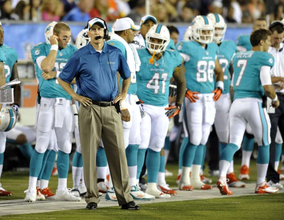 Miami Dolphins head coach Joe Philbin watches from the sidelines in the second quarter against the Dallas Cowboys at the Pro Football Hall of Fame exhibition football game Sunday, Aug. 4, 2013, in Canton, Ohio. (AP Photo/David Richard) Photo: David Richard, Associated Press