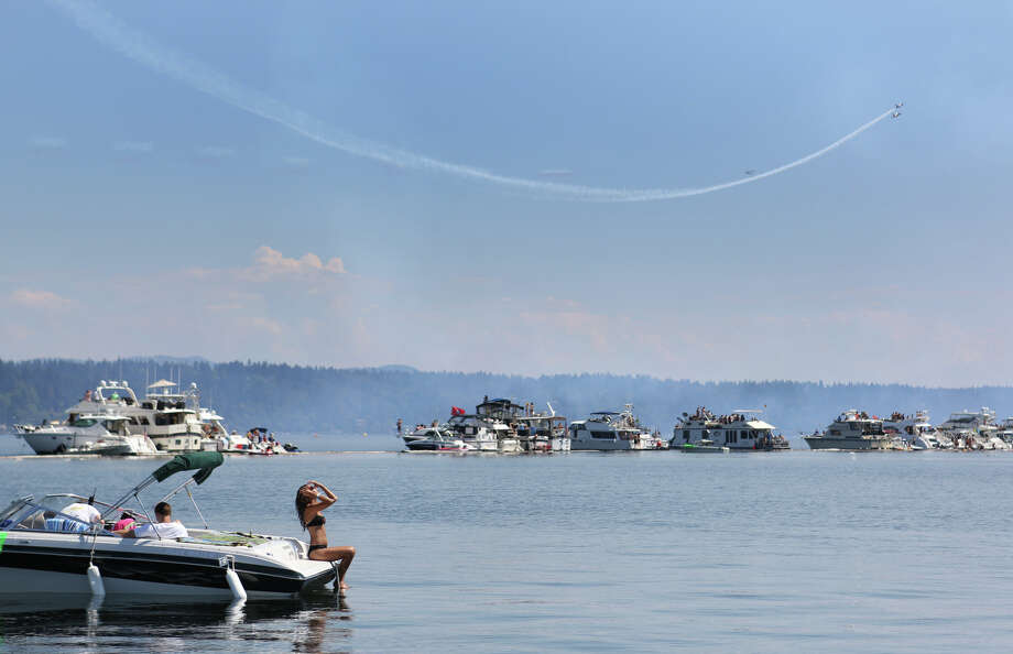 The Patriots perform over the log boom during the final day of Seafair. Photo: JOSHUA TRUJILLO, SEATTLEPI.COM / SEATTLEPI.COM