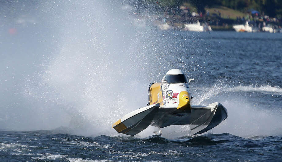 The Doc's Tile Formula 1 boat driven by Mark Welch gets some air during the Graham Trucking Cup. Photo: JOSHUA TRUJILLO, SEATTLEPI.COM / SEATTLEPI.COM