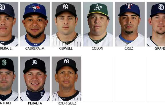 FILE - Top row from left are 2013 file photos showing San Diego Padres' Everth Cabrera, Toronto Blue Jays' Melky Cabrera, New York Yankees' Francisco Cervelli, Oakland Athletics' Bartolo Colon, Texas Rangers' Nelson Cruz and San Diego Padres' Yasmani Grandal. Bottom row from left are 2013 file photos showing Seattle Mariners' Jesus Montero, Detroit Tigers' Jhonny Peralta, and a 2012 file photo of New York Yankees' Alex Rodriguez. Major League Baseball has told the union which players it intends to suspend in its drug investigation and which ones will receive lengthier penalties for their roles in the Biogenesis case. (AP Photo/File)