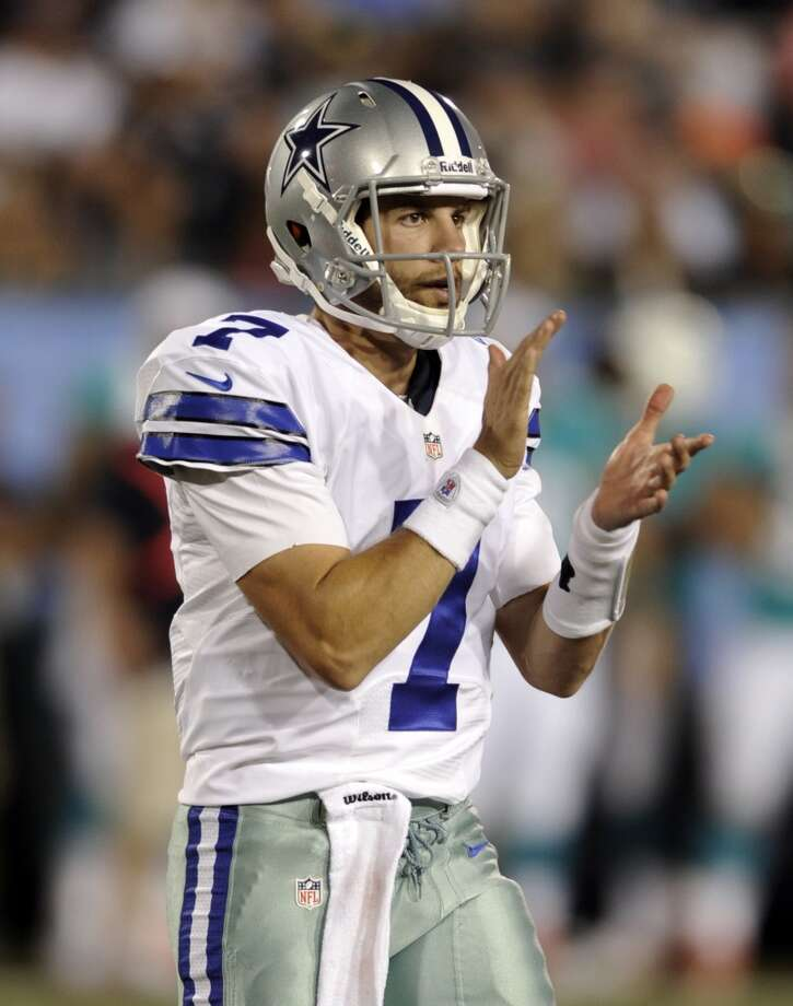 Dallas Cowboys quarterback Alex Tanney (7) claps after a first down in the third quarter against the Miami Dolphins at the Pro Football Hall of Fame exhibition football game Sunday, Aug. 4, 2013, in Canton, Ohio. (AP Photo/David Richard) Photo: David Richard, Associated Press