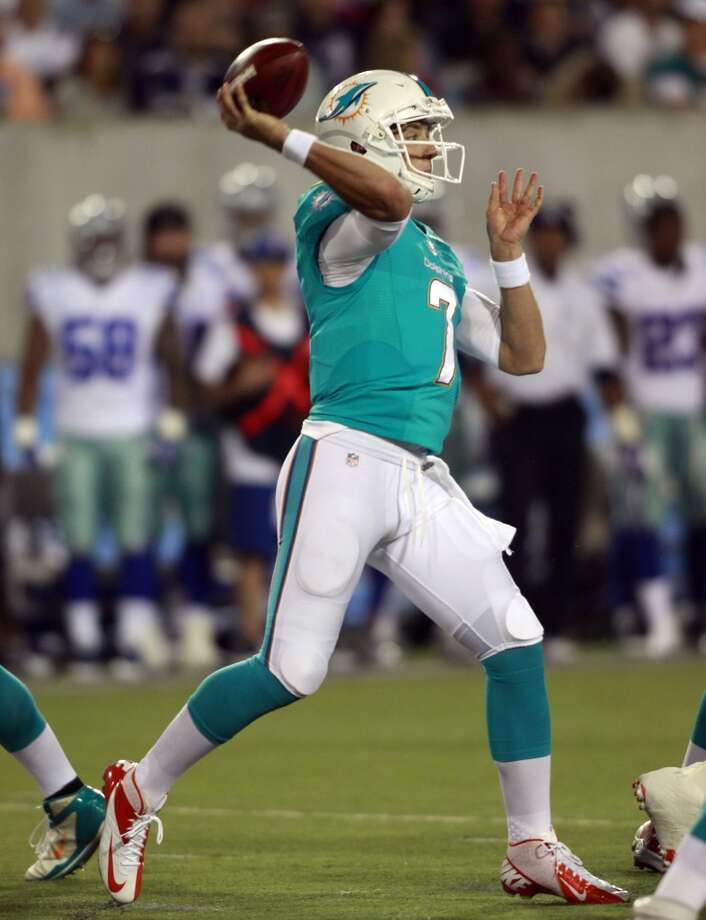 Miami Dolphins quarterback Pat Devlin (7) passes against the Dallas Cowboys in the third quarter at the Pro Football Hall of Fame exhibition football game Sunday, Aug. 4, 2013, in Canton, Ohio. (AP Photo/Scott R. Galvin) Photo: Scott R. Galvin, Associated Press