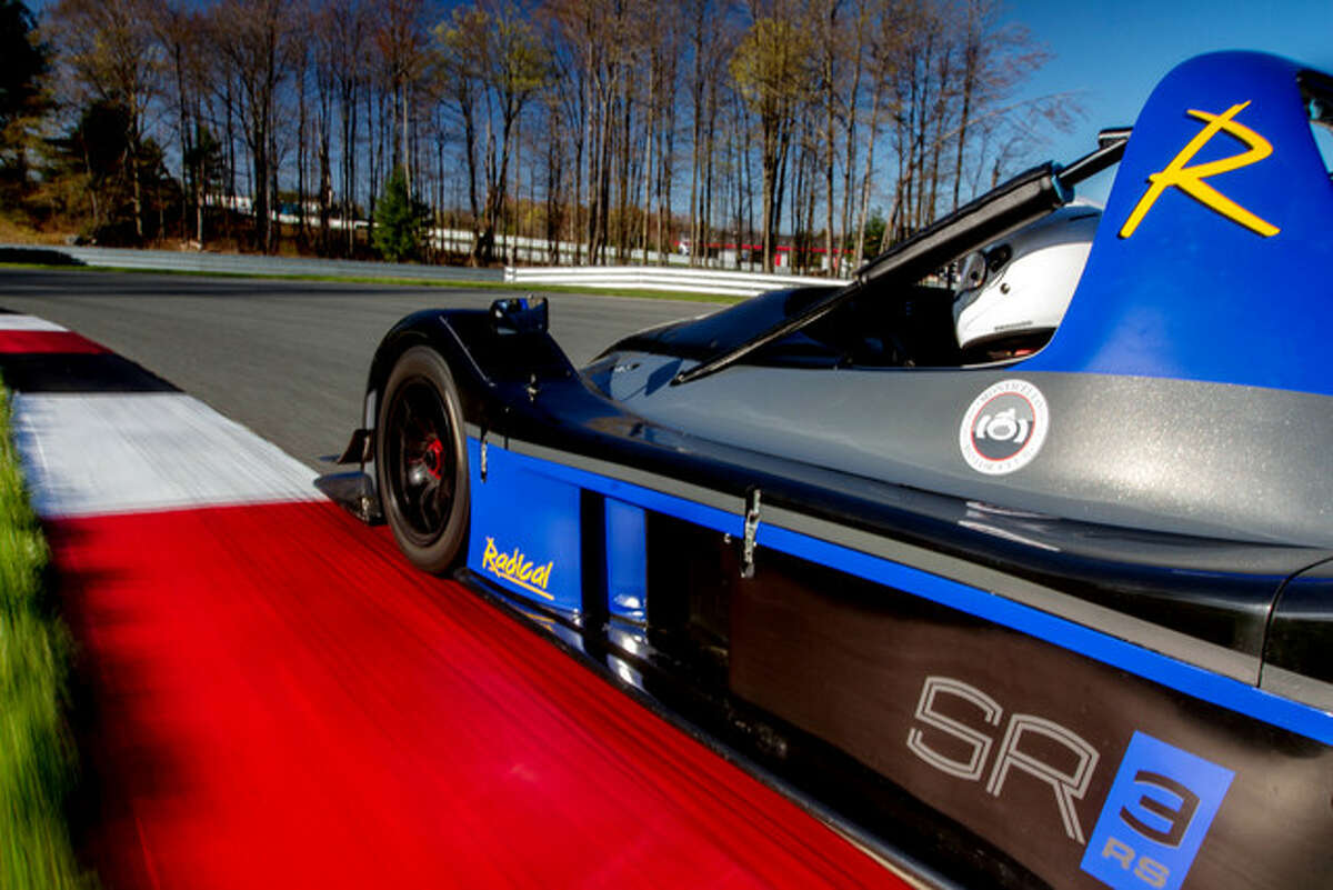 A Radical SR3 racecar in Monticello. Starting around $100,000 for a base model, they are built with fiberglass and tube chassis, and powered by small, high-revving engines.