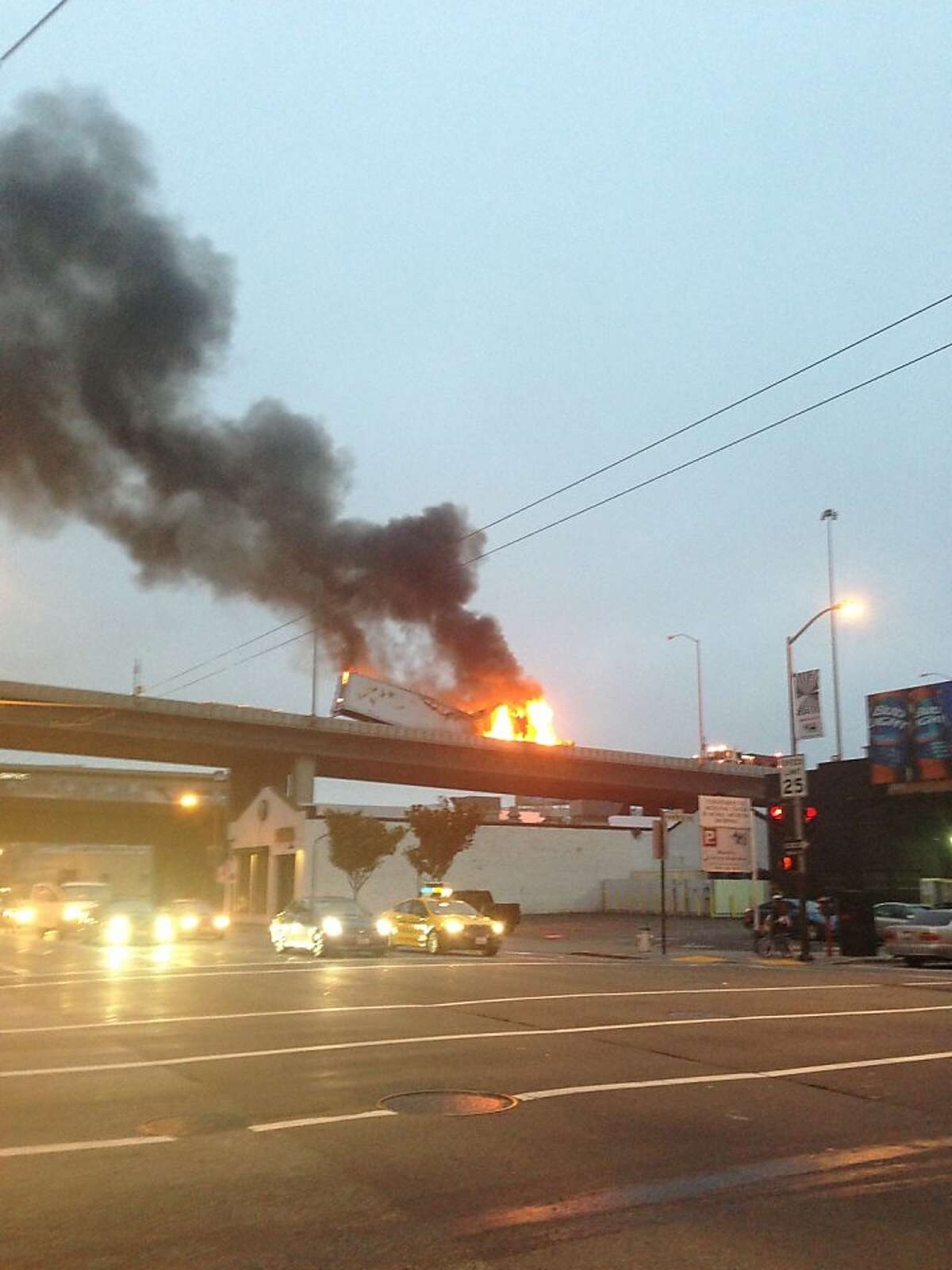 A photo of the burning big-rig truck on Interstate 80 in San Francisco on the morning of Monday, August 5, 2013. The fire closed two lanes for hours and caused a massive delay on the Bay Bridge.