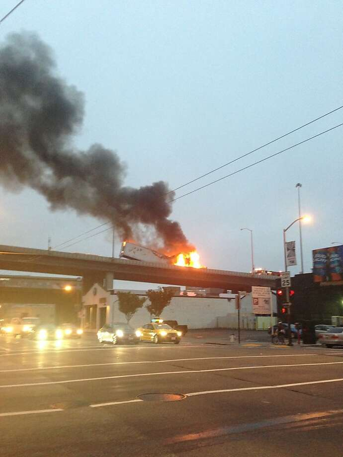 A photo of the burning big-rig truck on Interstate 80 in San Francisco on the morning of Monday, August 5, 2013. The fire closed two lanes for hours and caused a massive delay on the Bay Bridge. Photo: Derek Overbey, Courtesy