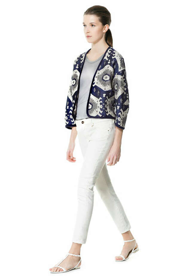 Jacked Up: Zara's short jacquard cardigan is on sale. Photo: Courtesy Of Zara