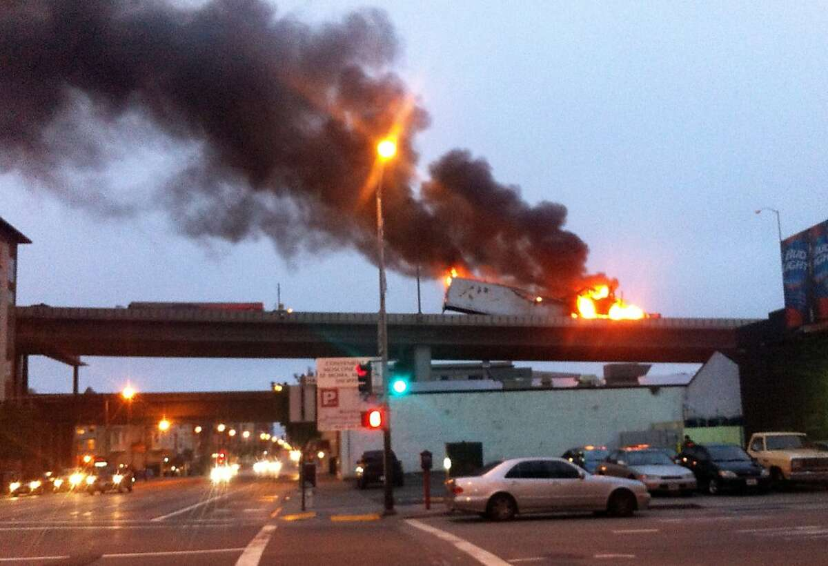 A truck fire that cause a back up on the Bay Bridge.