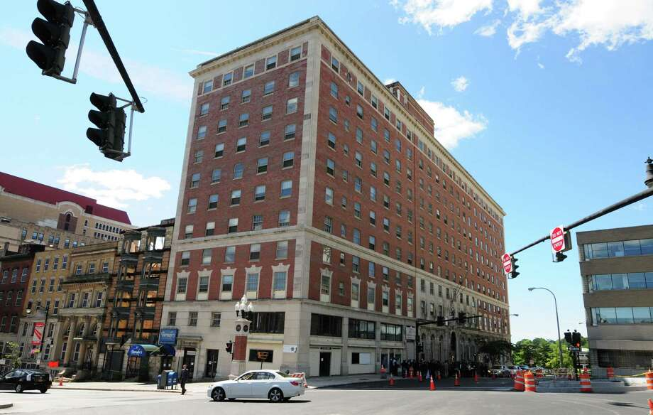 View of the former DeWitt Clinton hotel on Eagle Street Monday, Aug. 5, 2013, in Albany. Marriott announced plans to build a $48.5 million Renaissance Hotel inside the DeWitt Clinton property. (Will Waldron/Times Union) Photo: WW / 00023404A