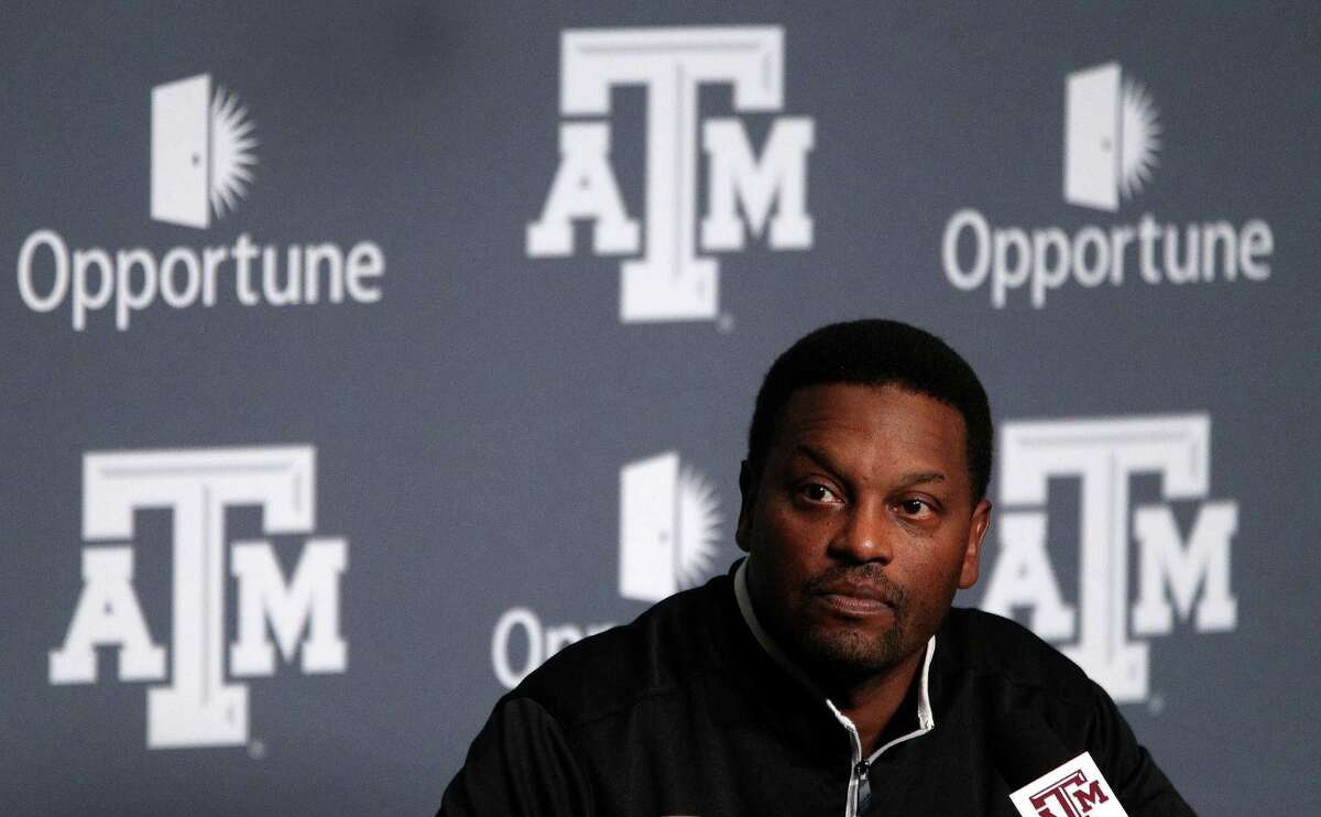 Texas A&M's head coach Kevin Sumlin speaks to the media during A&M's media day, Monday, Aug. 5, 2013, in College Station.