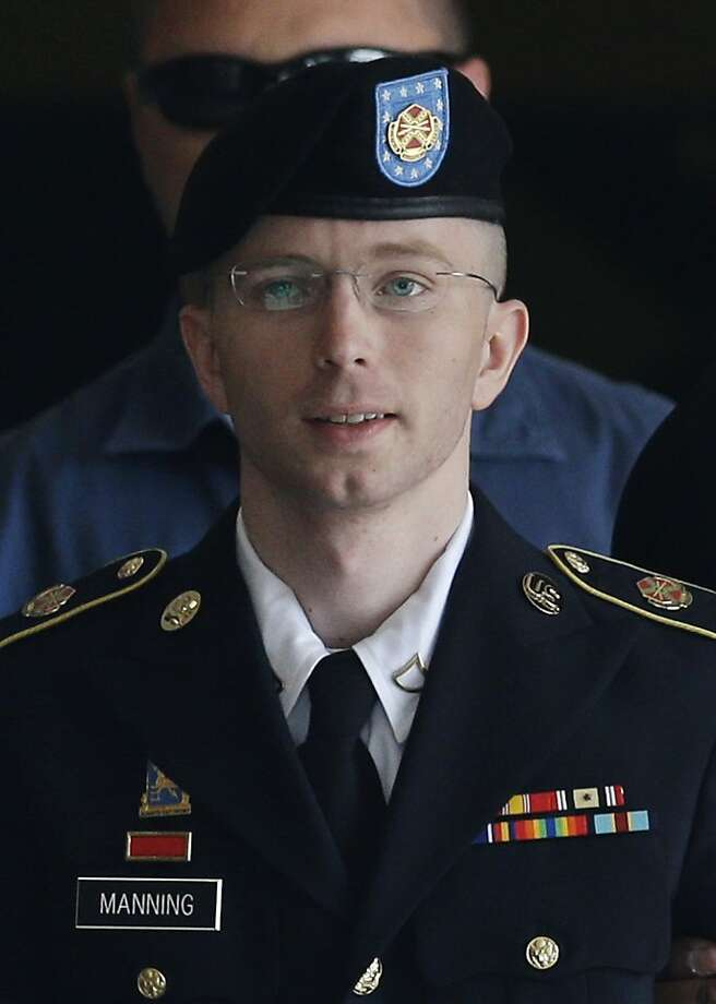 Pfc. Bradley Manning e-mailed a picture of himself in a wig and lipstick to his sergeant. Photo: Patrick Semansky, Associated Press